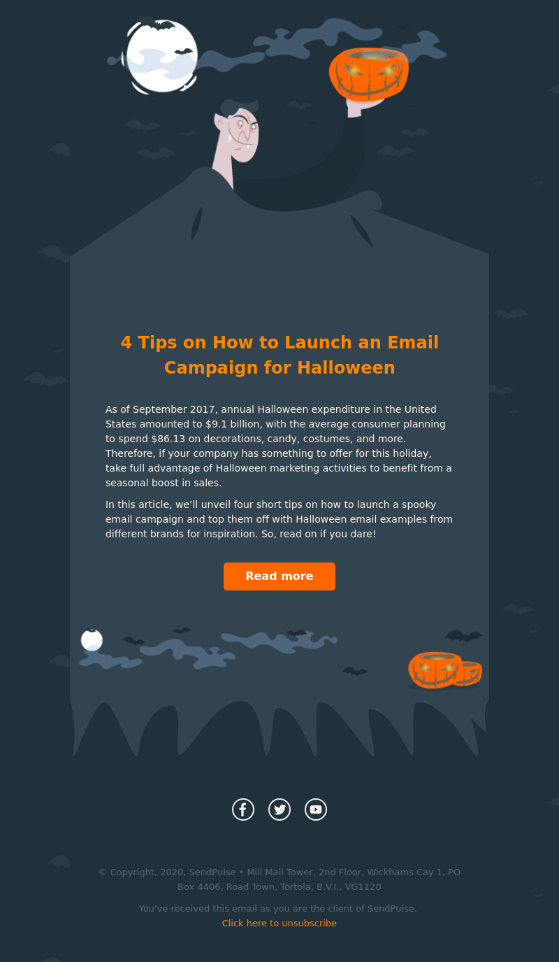 Tortola Halloween 2020 Halloween Sale   Email Template | Holiday | Sendpulse