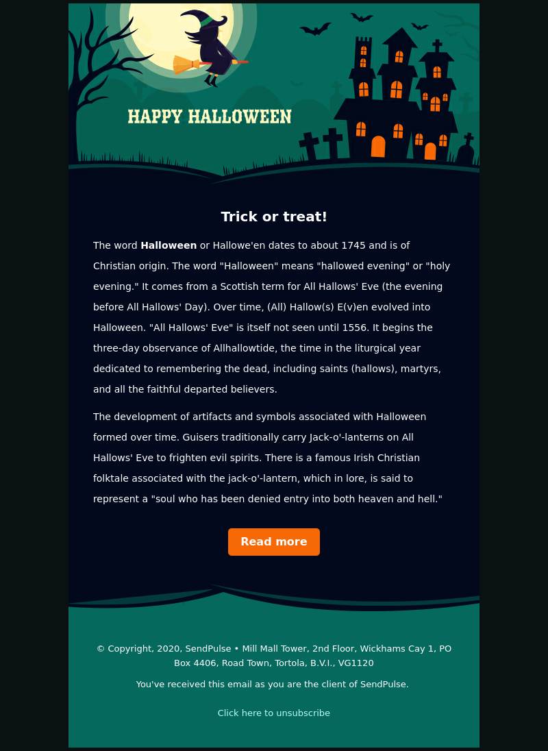 Tortola Halloween 2020 Happy Halloween   Email Template | Holiday | Sendpulse