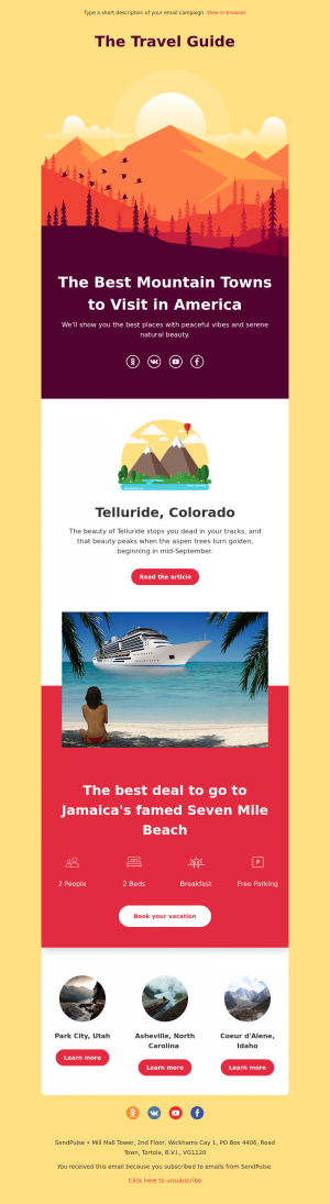 Travel free email template