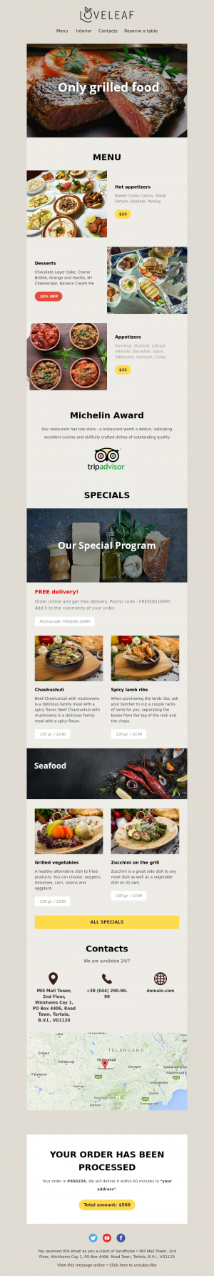 Restaurant free email template